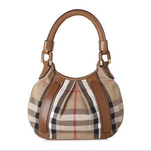 Burberry House Check canvas Hobo Camel leather bag